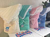 "Зимний вязанный конверт-одеяло  ""Дуэт"" (подклад махра) ментол"