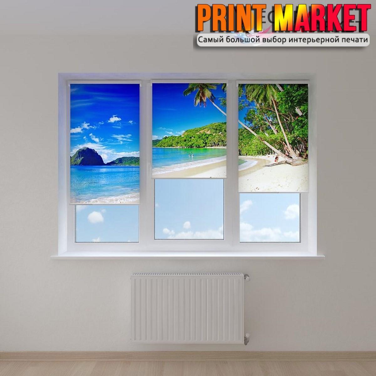 Рулонные шторы с фотопечатью скалы и белый пляж