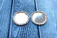 Основа (кришечка) для серединки бантика (шпильки), 2,5/3,3 см, в оправі з каменів,10 шт/уп. срібло-перламутр опт
