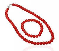 Комплект бусы и браслет искусственный жемчуг красный