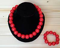 Бусы крупные деревянные красные + браслет