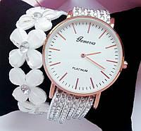 Часы Geneva Flowers (white)