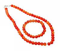 Комплект бусы и браслет искусственный жемчуг оранжевый