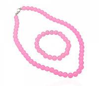 Комплект бусы и браслет искусственный жемчуг розовый