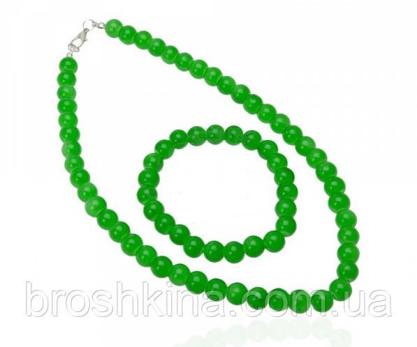 Комплект бусы и браслет искусственный жемчуг зеленый