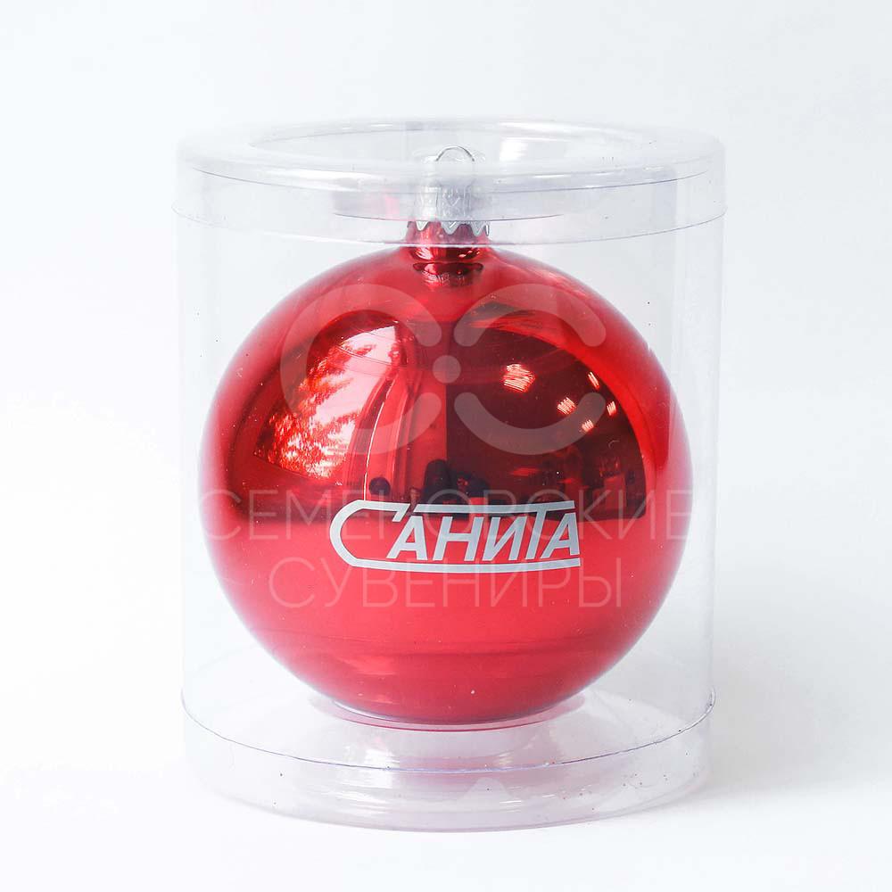 Шарик новогодний, Д 100 мм, цвет красный с нанесением логотипа