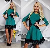 """Красивое, женское платье осень-зима с расклешенной юбкой """"Ангора, декорировано макраме"""" 42-60р"""