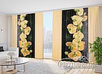 """3D Фото Шторы в зал """"Песочные орхидеи"""" 2,7м*3,5м (2 полотна по 1,75м), тесьма"""