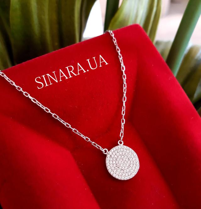 Серебряное колье с медальйоном - Серебряный кулон Круг - Круглый медальйон с цепочкой картинка