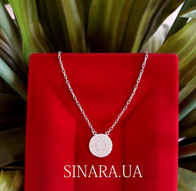 Серебряное колье с медальйоном - Серебряный кулон Круг - Круглый медальйон с цепочкой картинка 3