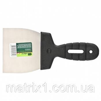 Шпательная лопатка из нержавеющей стали, 100 мм, пластмассовая ручка//СИБРТЕХ