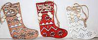 """Новогодние украшения из дерева """"Рождественский носок"""""""