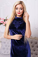 Элегантное женское платье (стрейч-велюр, декор вышивка, без рукавов, воротник стойка) РАЗНЫЕ ЦВЕТА!