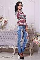 Яркий женский трикотажный свитшот (трикотаж, модная полоска, длинные рукава, круглая горловина)