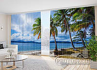 """Фото Шторы в зал """"Пляж 3"""" 2,7м*4,0м (2 полотна по 2,0м), тесьма, фото 1"""