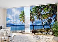 """Фото Шторы в зал """"Пляж 3"""" 2,7м*2,9м (2 полотна по 1,45м), тесьма"""