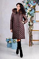 Зимний женский коричневый пуховик ПВ-994 н/м Лаке Тон 20 44-56 размеры