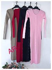 Стильное женское платье-футляр (трикотаж-рубчик, длина миди, длинные рукава, круглая горловина) РАЗНЫЕ ЦВЕТА!, фото 3
