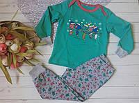 Теплая детская пижама (хлопок на байке, штаны + кофта с длинным рукавом) РАЗНЫЕ ЦВЕТА!