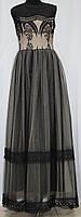 Платье вечернее в пол, черное с бежевым, Турция, фото 1