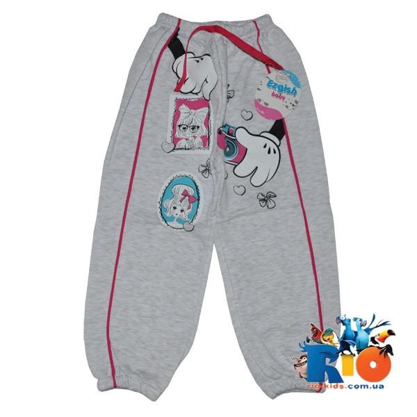 Спортивные штаны, трикотаж на флисе, для девочки 1-2-3 года