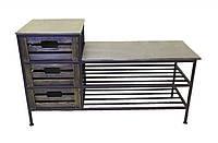 Диван-тумба кованый №17 на 3 ящика и 2 полки