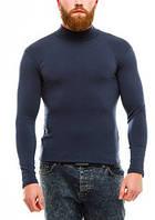 Гольф (водолазка) мужской, теплый, на флисе, темно-синий