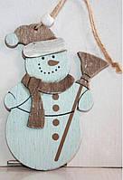 """Новогодние украшения из дерева """"Снеговик"""""""