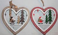"""Новогодние украшения из дерева """"Сердечки"""""""