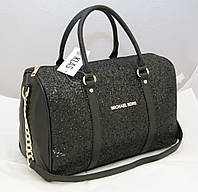 Женская сумка саквояж Michael Kors, черная с блестками Майкл Корс MK