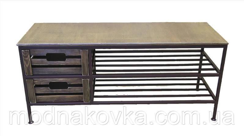 Диван-тумба кованый №12 на 2 ящика и 2 полки