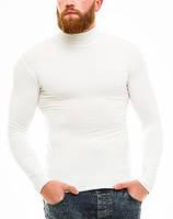 Гольф (водолазка) мужской, теплый, на флисе, белый