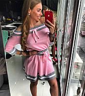 Молодежное, женское, летнее,вязаное мини-платье (открытые плечи, юбка-клеш, хлопок)  РАЗНЫЕ ЦВЕТА