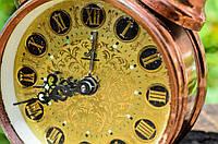 Винтажный будильник,часы! Медное покрытие!