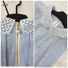 Романтичная женская блуза (хлопок, хлопковое кружево, принт, рюши, без рукавов, колокол), фото 2