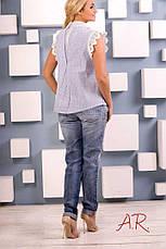 Романтичная женская блуза (хлопок, хлопковое кружево, принт, рюши, без рукавов, колокол), фото 3