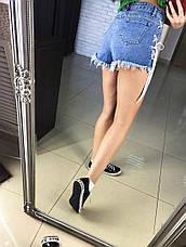 Модные, женские, джинсовые шорты, декорированы шнуровкой. Фабричный Китай! РАЗНЫЕ ЦВЕТА, фото 2