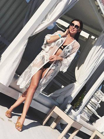 Женская, пляжная, ажурная накидка с длинными рукавами., фото 2