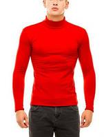 Гольф (водолазка) мужской, теплый, на флисе, красный