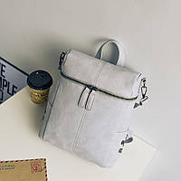 Сумка рюкзак женская кожаная матовая с заклепками по бокам (серая)