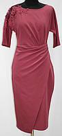 Вишневое стильное платье, приталенное, рукав до локтя, Турция