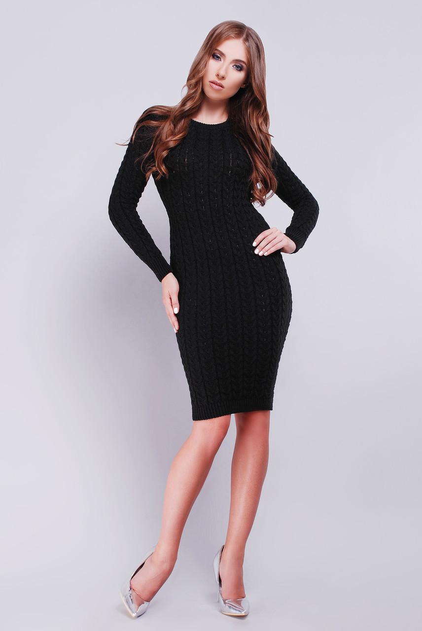 702fc6a0e1b Стильное вязаное черное платье  продажа