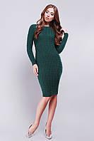 Стильное вязаное изумрудное платье