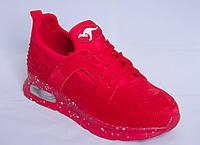 Кроссовки женские красные замшевые на стильной оригинальной подошве