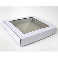 Коробка для печенья, пряников, с окном БЕЛАЯ, 10 см х 10 см х 3 см, микрогофрокартон