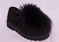 Мокасины женские черные замшевые с мехом