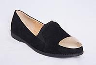 Туфли женские черные замшевые на низком каблуке