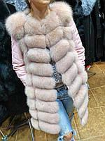 Женская Шубка-Жилет с кожаными рукавами песец + кожа