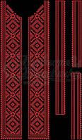 Комплект вставок для вишивки чоловічої сорочки на чорній тканині
