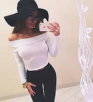 Модная трикотажная женская кофта (длинные рукава, широкая горловина, открытые плечи) РАЗНЫЕ ЦВЕТА!